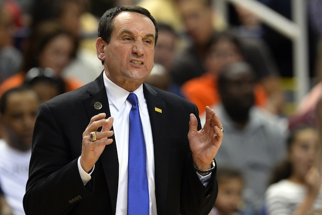 Coach K does not agree with the ACC getting less tournament bids than the Atlantic 10.  (USATSI)