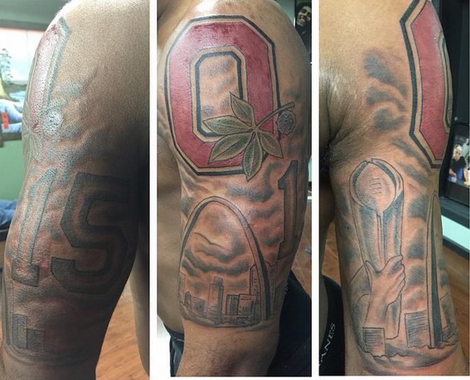 Look ohio state rb ezekiel elliott 39 s college football for State of ohio tattoos