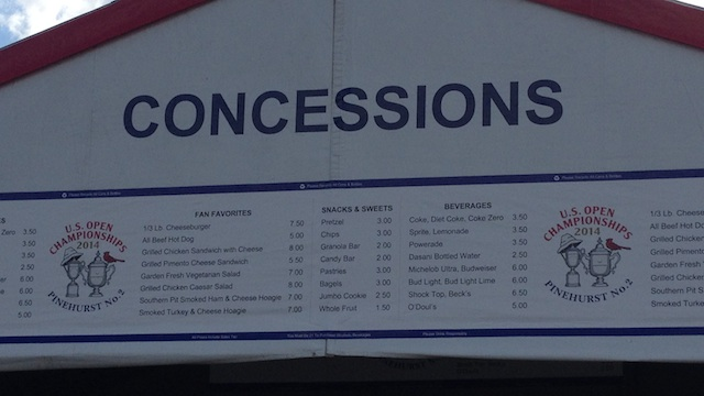 Concession prices for 2014 US Open patrons at Pinehurst No. 2. (CBSSports.com)