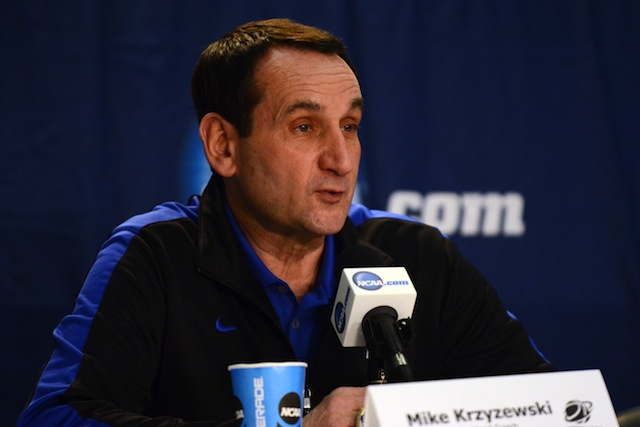Duke coach Mike Krzyzewski laughed off a question about retirement on Thursday.  (USATSI)