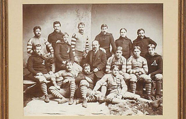 A photo of the 1893 Pittsburgh Athletic Club. It's unclear which one is Grant Dibert. (Legendary Auctions)