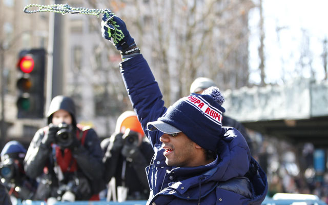 Russell Wilson and the Seahawks celebrated their NFL title Wednesday in Seattle.