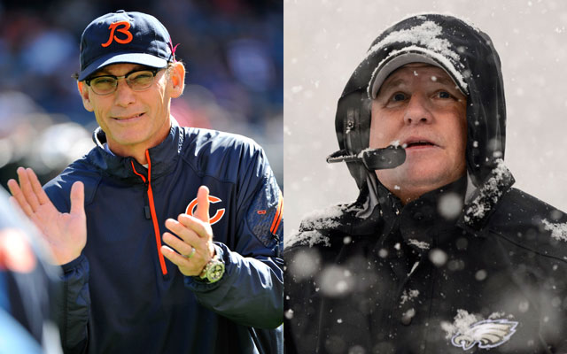 Marc Trestman and Chip Kelly will square off in Week 16 on Sunday night.