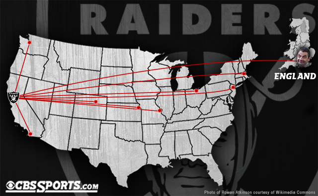 The 2014 Raiders will travel more than the Steelers, Browns, Bengals and Titans combined.
