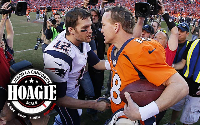 Brady and Manning meet again in a rematch of last season's AFC championship game. (Getty Images)