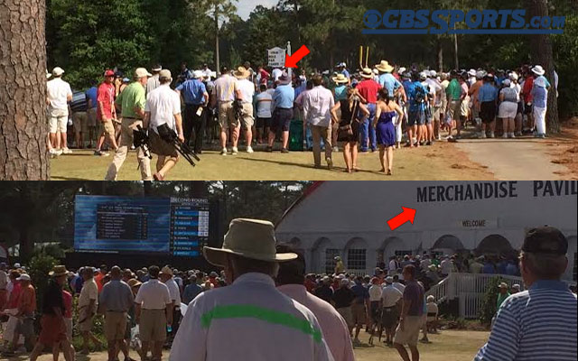 Phil Mickelson had a smaller crowd than the merch tent. (CBSSports.com)