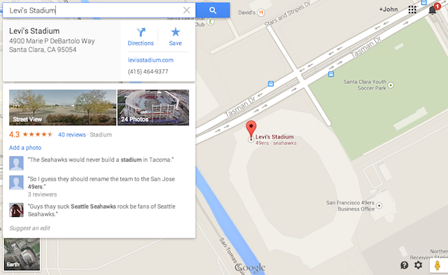 Are the 49ers or Seahawks playing at Levi's Stadium? Or both? (Google Maps)