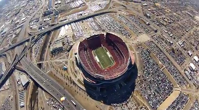 This is a skydiver's point of view from Sunday's AFC title game. (YouTube)