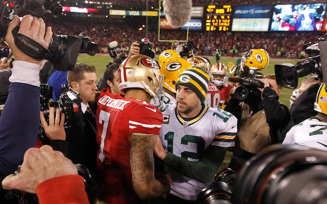 Can Colin Kaepernick beat Aaron Rodgers in the playoffs for the second year in a row? (USATSI)