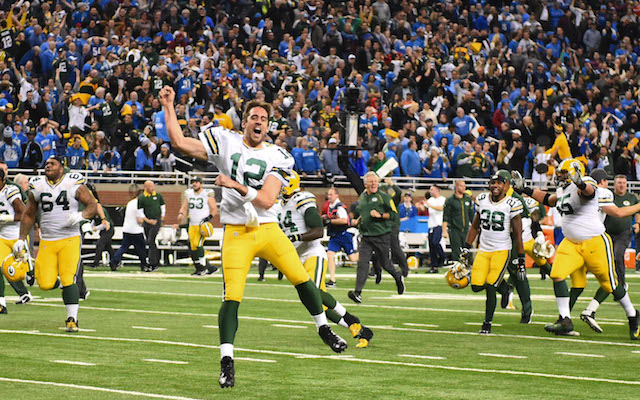 Aaron Rodgers just missed the Ford Field rafters on the final play. (USATSI)