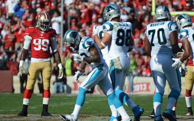 Two days after playing Carolina, 49ers linebacker Aldon Smith was in a courtroom. (USATSI)