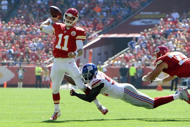 Chiefs fans will have to wait three extra hours to see Alex Smith play in Week 7. (USATSI)