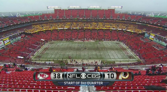 Thanks to Alex Smith, only three Redskins fans stayed for the second half in Week 14. (CBS/NFL)