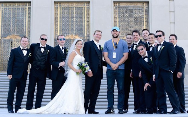 Andrew Luck didn't get married over the weekend, but he was in some wedding photos. (Twitter/SAckermannPhoto)