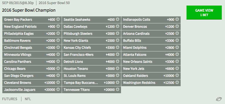superbowl odds spread live nfl odds