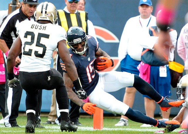 Brandon Marshall will trade his orange and blue shoes in for green ones on Thursday. (USATSI)