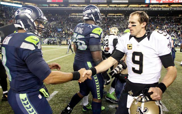 Drew Brees is hoping he'll be in a better mood next time he shakes Russell Wilson's hand. (USATSI)