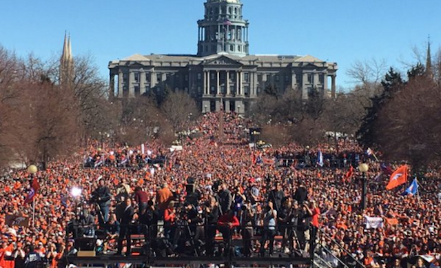 One million people showed up for the Broncos parade. (Twitter/DeMarcusWare)