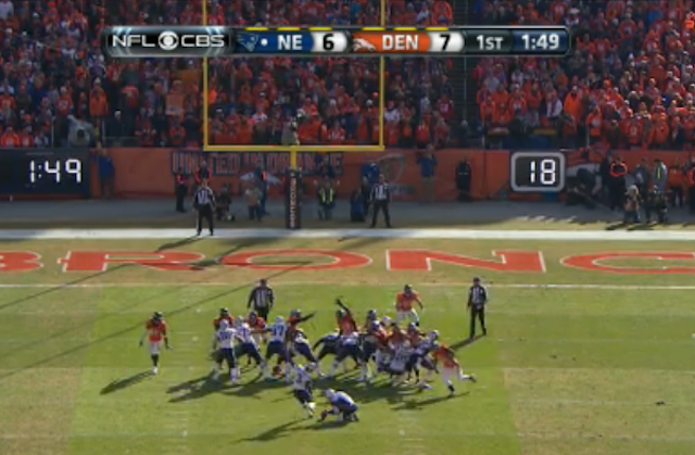 This was Stephen Gostkowski's first miss in 10 years. (CBS)