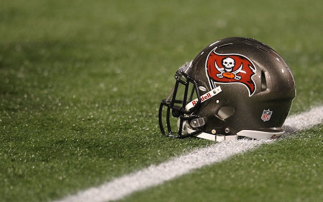 The Buccaneers won't be wearing these helmets in 2014. (USATSI)