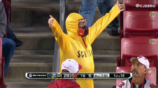 A Buccaneers fan in a Greg Schiano Hazmat suit.
