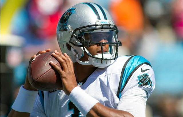 If you look closely, you can see the visor clips that cost Cam Newton $10,000. (USATSI)