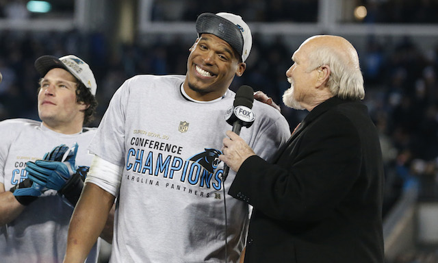 Cam Newton learned he ll play the Broncos in Super Bowl 50 on live ... 0a7b35e7d