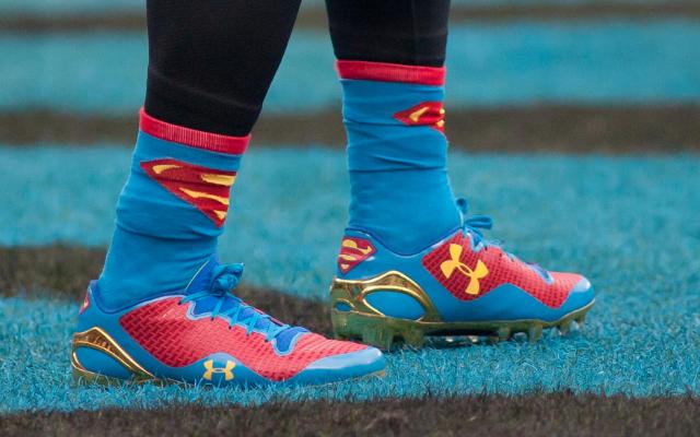 3c56ae7801be LOOK: Cam Newton wears Superman socks, cleats Sunday - CBSSports.com