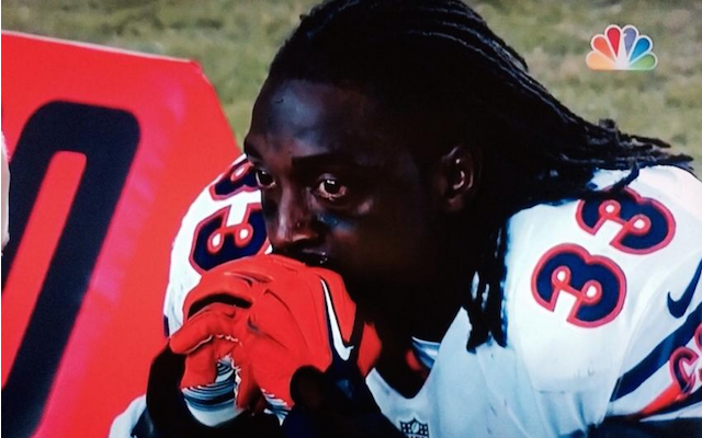 Charles Tillman was fighting back tears after being injured on Sunday. (NBC)