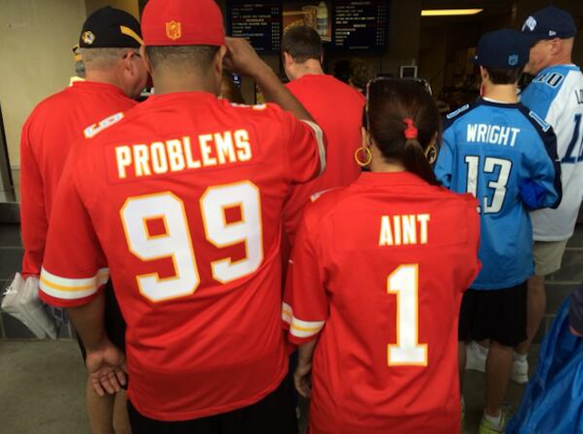 Chiefs fans are getting creative with their jersey choices. (Twitter)