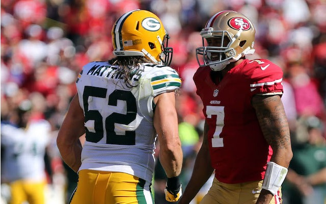 Clay Matthews won't get to renew his rivalry with Colin Kaepernick. (USATSI)