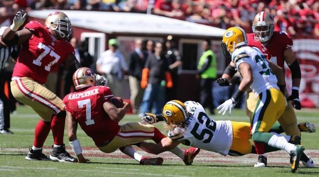 49ers guard Alex Boone wants to 'punch' Clay Matthews for going after Colin Kaepernick. (USATSI)