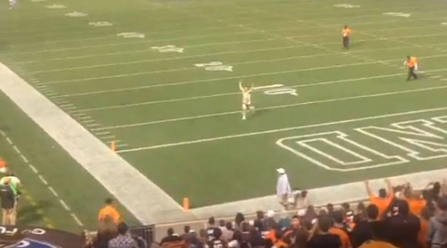Browns streaker gets jacked up.