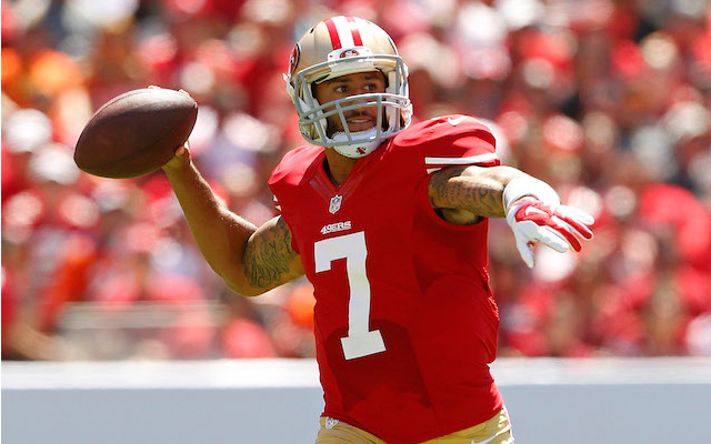 Colin Kaepernick and Stevie Johnson aren't quite on the same page yet. (USATSI)