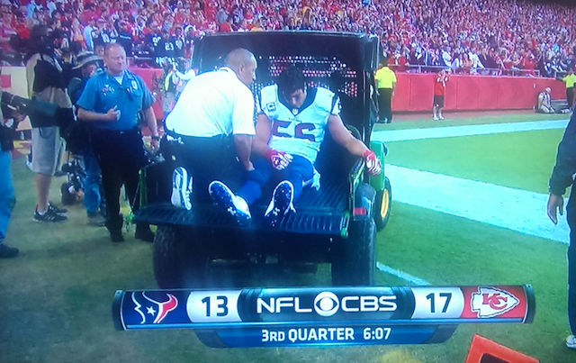 Brian Cushing was carted off the field in the third quarter on Sunday. (CBS)
