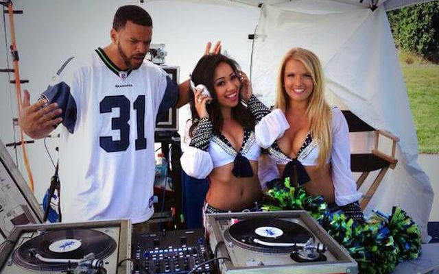 Being a DJ for the Seahawks isn't all fun and games. (Twitter/@DVONE)