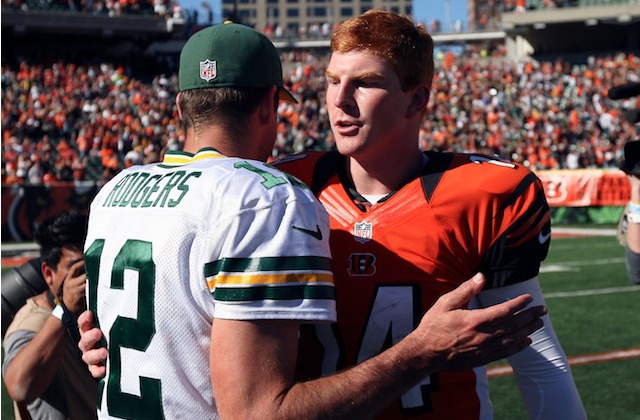 Unfortunately for Aaron Rodgers, winning a Lombardi Trophy doesn't make you better than Andy Dalton. (USATSI)