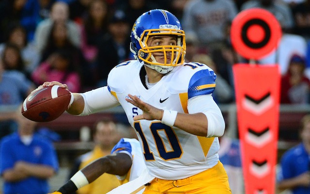 Is David Fales one of the top-five quarterbacks in the draft? Jim Harbaugh says yes. (USATSI)