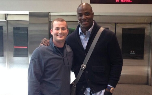 DeMarcus Ware at the Denver airport on Wednesday. (Twitter/@Joshua_Conley)