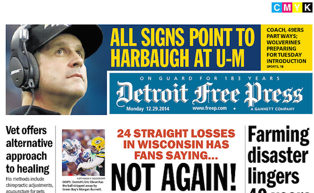 Image result for detroit free press john harbaugh picture