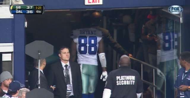 Dez Bryant decided to head to the locker room before the game was over. (Fox?NFL)