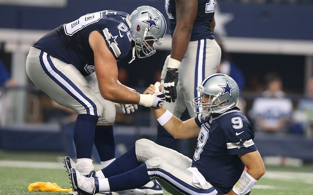 Hopefully Tony Romo returned the favor after Doug Free was knocked down in the third quarter. (USATSI)