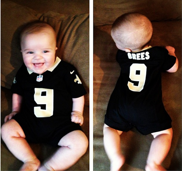 Baby Rob Ryan is a lot happier dressed as Drew Brees. (Instagram)