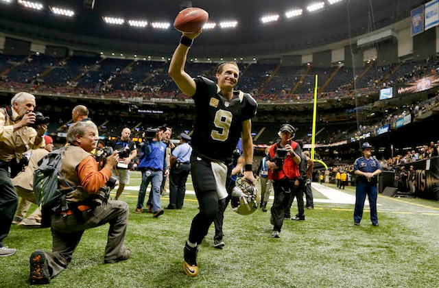 Drew Brees will probably be keeping the football from the Saints record-setting night. (USATSI)