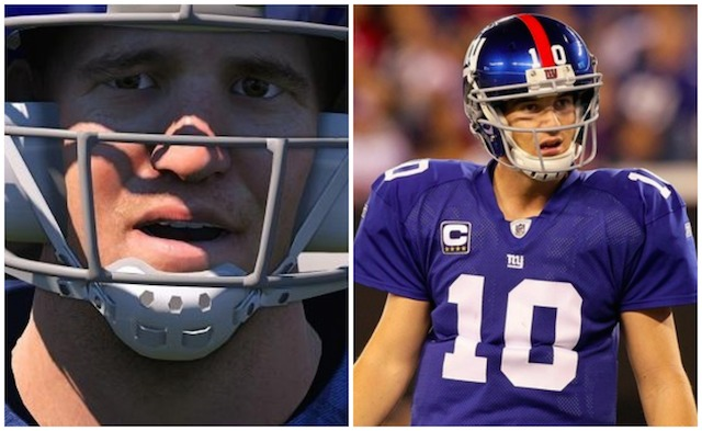 One of these Manning faces is real, the other is a video game. (Twitter/@JesseDNelson/USATSI)