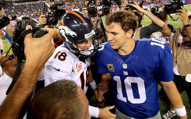 Eli Manning, right, has been accused of faking memorabilia. (USATSI)