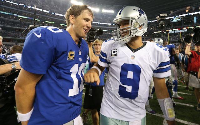 A ticket to see Eli Manning vs. Tony Romo is almost as much as a ticket to see Peyton Manning vs. Tom Brady. (USATSI)