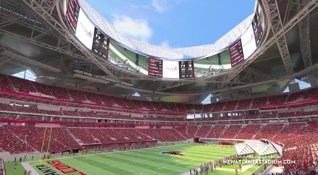 Watch falcons show off crazy new stadium with fly through for Mercedes benz stadium psl