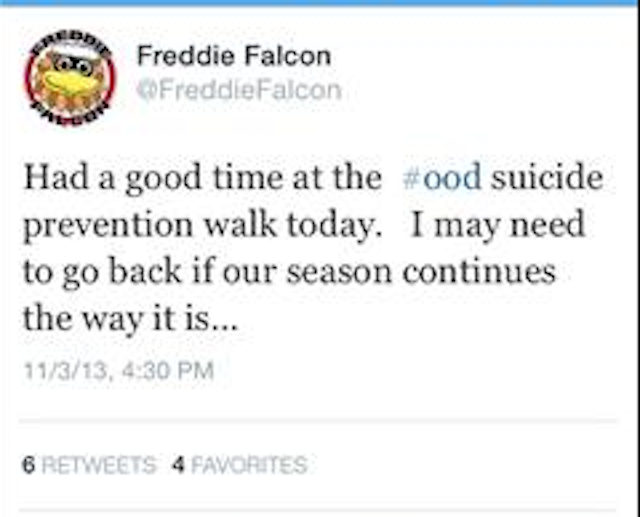 Freddie the Falcon eventually deleted this tweet. (Twitter)