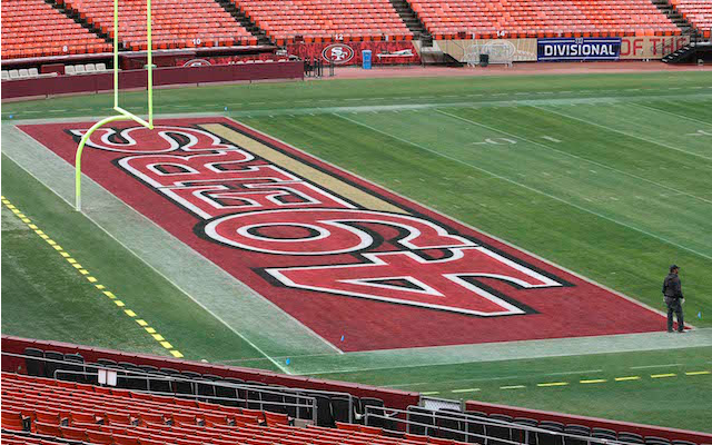 look 49ers logo still visible at deserted candlestick